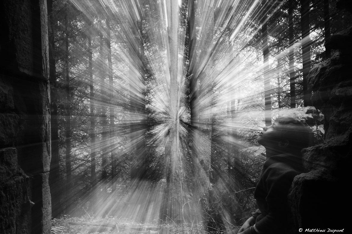 Effet de travelling optique pour une image noir et blanc surprenante