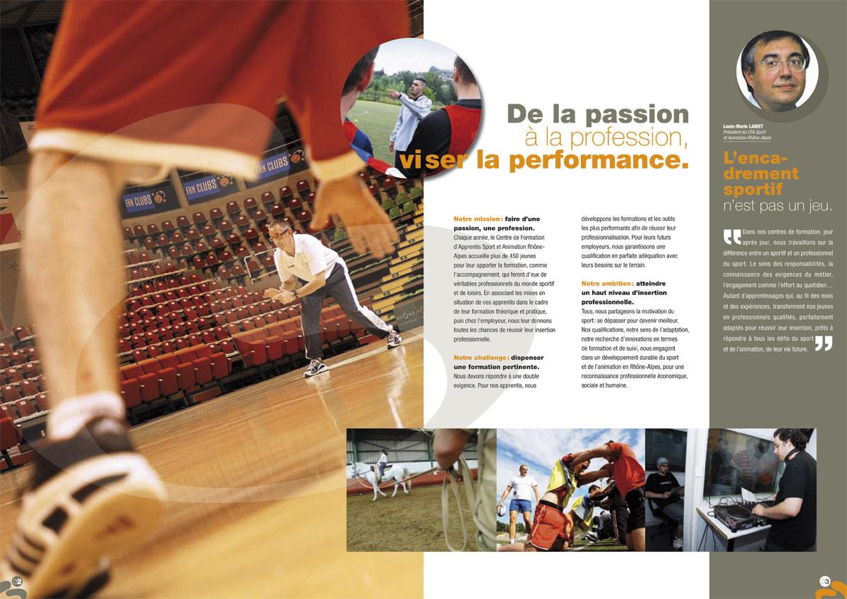 Plaquette des CFA Sport et Animation en Rhône-Alpes