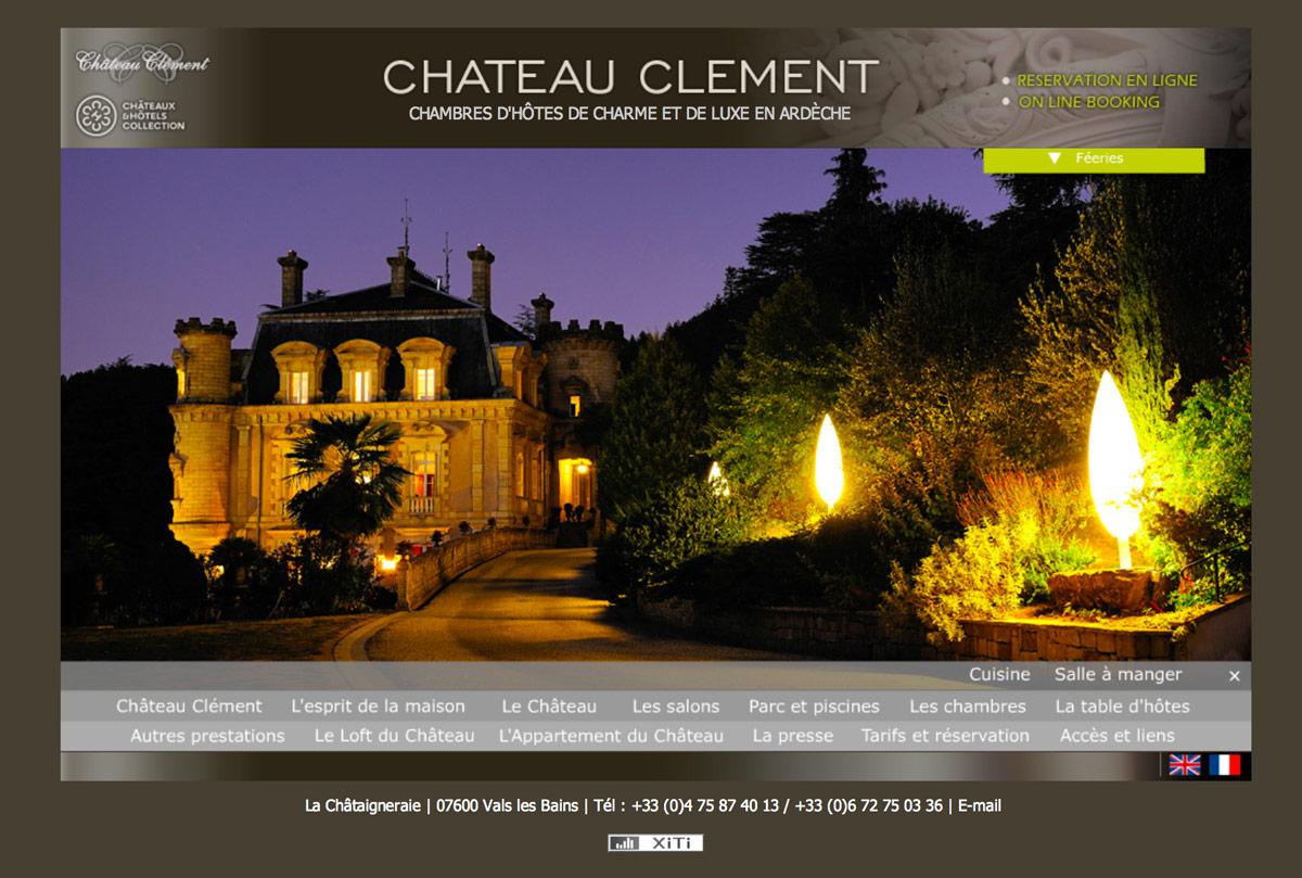 Site web du Château Clement à Vals-les-Bains en Ardèche