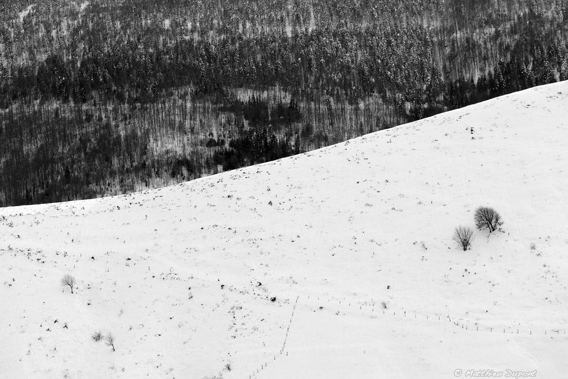 Quand la neige recouvre ce paysage ardéchois - Photo noir et blanc de Matthieu Dupont