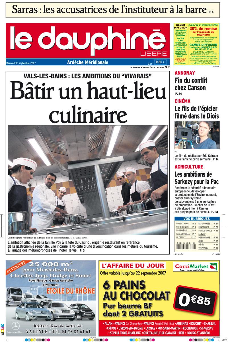 La une du Dauphiné Libéré du 12 septembre 2007