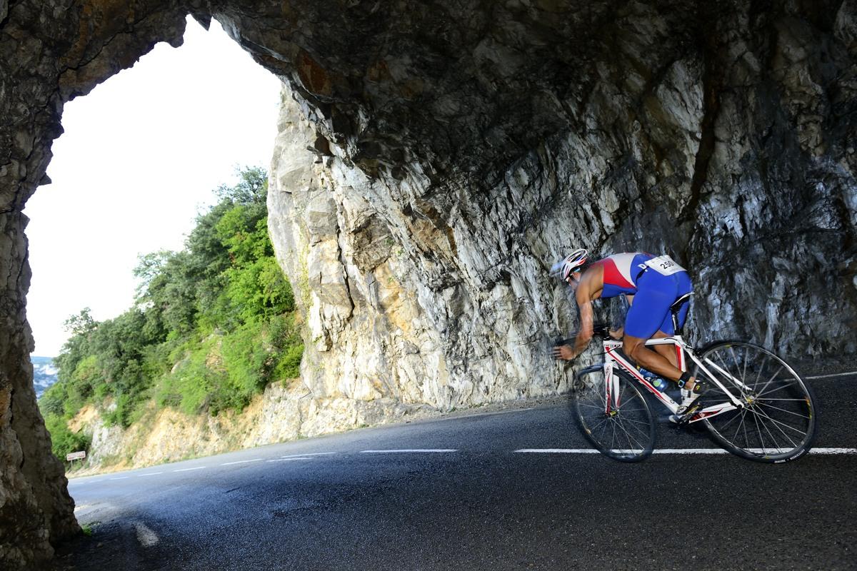 Tunnel en vélo sur le Triathlon des Gorges de l'Ardèche, le 24 aout  2013