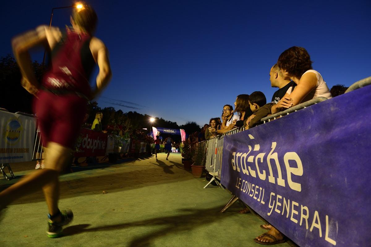 L'arrivée du Triathlon des Gorges de l'Ardèche - Vallon Pont d'Arc le 24 aout  2013